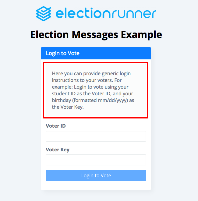 Election Login Message