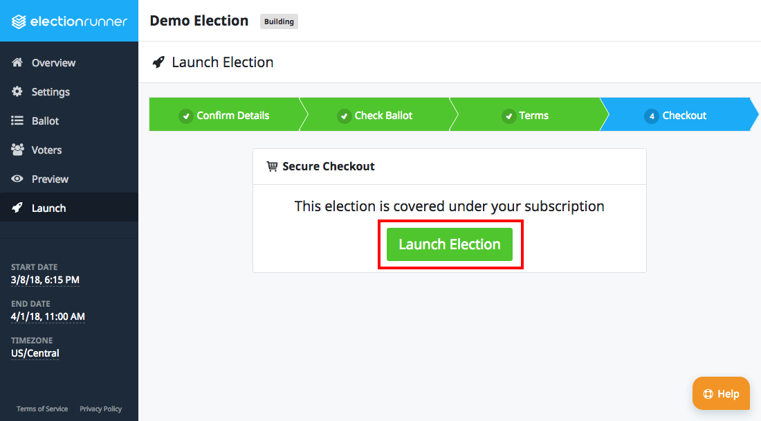 Election Launch Step 4 - Subscription
